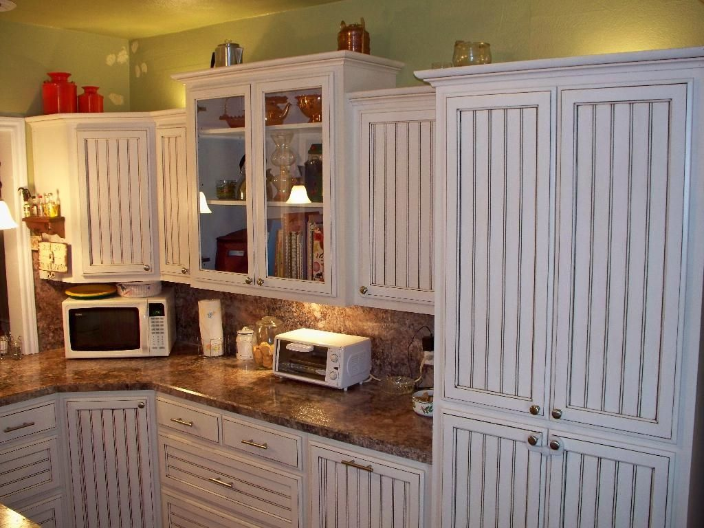 Hand crafted white glazed beadboard kitchen by oak tree Diy white cabinets
