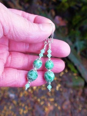Custom Made Ching Hai Jade & Swarovski Crystal Earrings On Silver-Plated Earwires