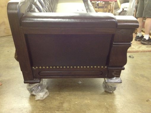 Custom Made Hand Carved Solid Claro Walnut Sofa