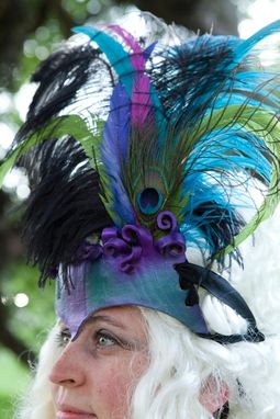 Custom Made Leather Headdress - Teal And Purple With Peacock Feather