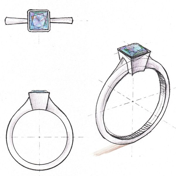 Sketches for a minimal, modern engagement ring. The stark, smooth surfaces of the center setting accentuate the clean geometry of the ring.