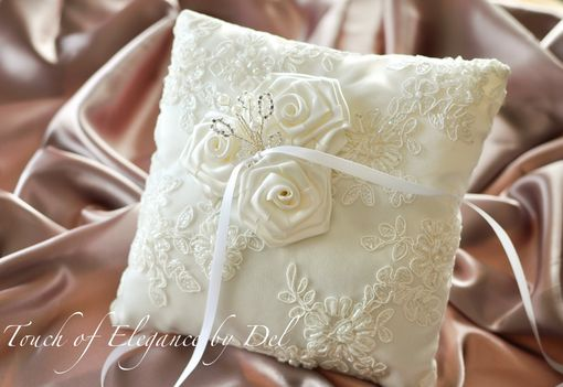 Custom Made Ivory Ring Bearer Pillow / Wedding Pillow / Ivory Silk With French Alencon Lace Overlay