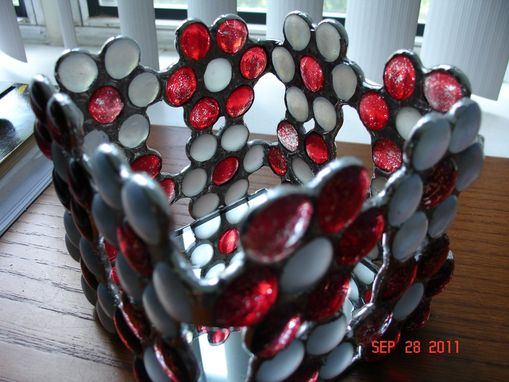 Custom Made Red & White Flower Candle Holder Or Decorative Box In Stained Glass Nuggets
