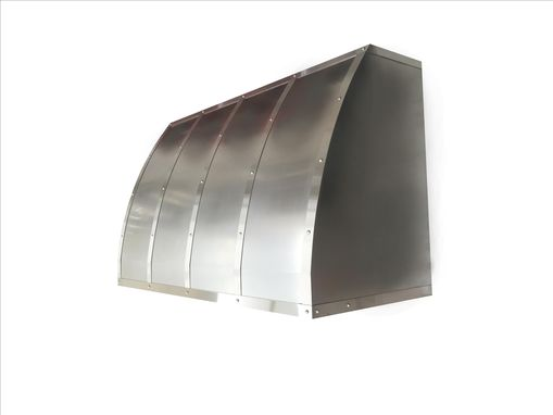 Custom Made #5 Non Directional Stainless Steel Range Hood With Brushed Straps