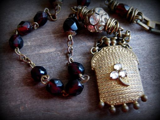 Custom Made Rhinestone Purse Pendant On Watch Fob And Vintage Rhinestone Necklace