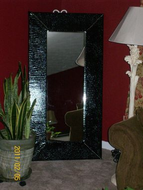 Custom Made Crocodile Upholstered Leaner Mirror