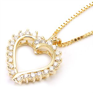 Custom Made Elegant Diamond Heart Pendant In 14k Yellow Gold, Heart Pendant, Love Pendant