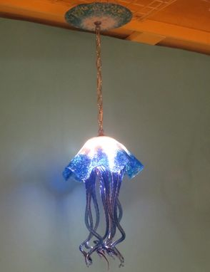 Custom Made Blown Glass Chandelier Jellyfish Light - Art Glass Lighting - Chandelier - Lighting