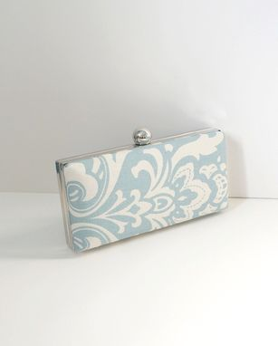 Custom Made Ice Blue Cotton Damask Clamshell Clutch Purse