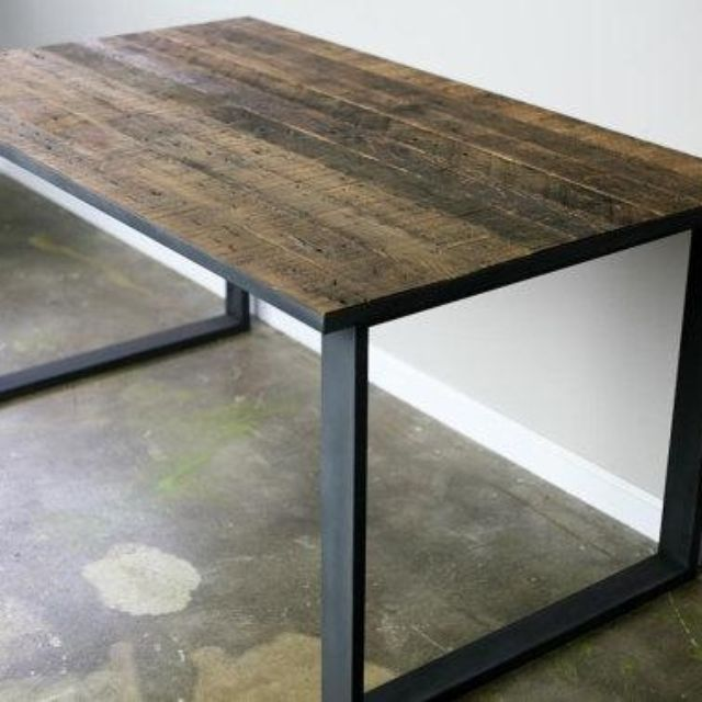 Modern Dining Table Desk Reclaimed Wood Top Steel Base Distressed Style Office