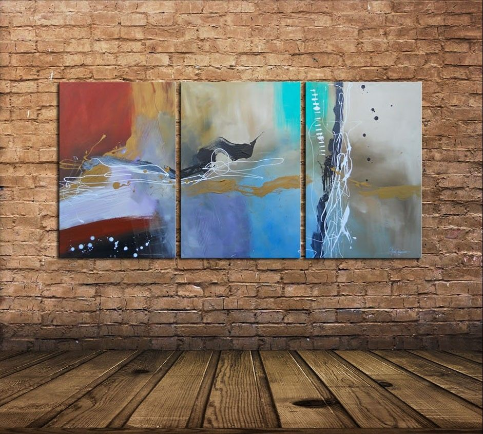 Hand Crafted Large Modern Paintings Triptych Multi Panel