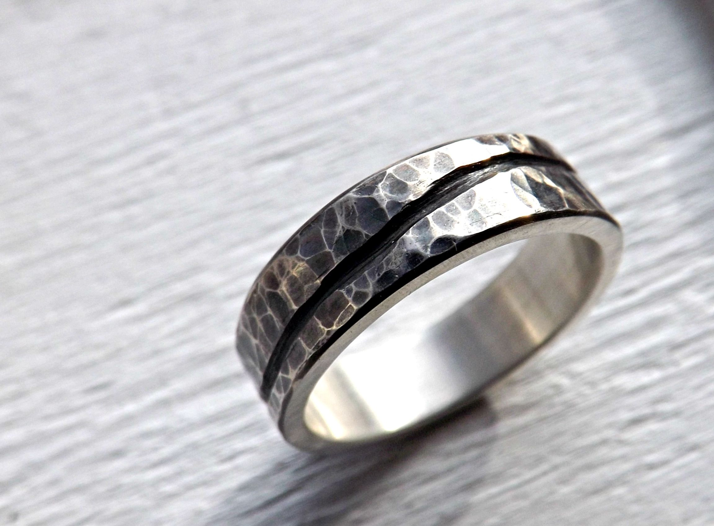 Buy a Custom Rustic Wave Ring Silver Mens Wedding Band Ocean