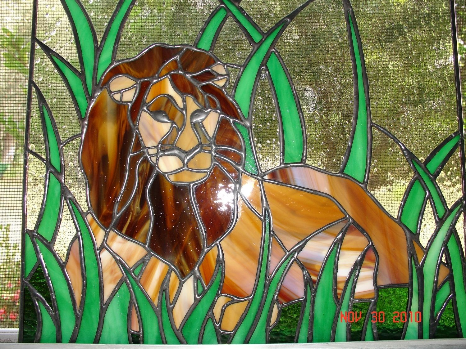 Hand Crafted King Of The Jungle Stained Glass Resting Lion By