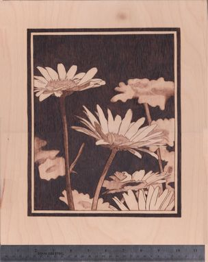 Custom Made Daisy Woodburn Wall Hanging Art