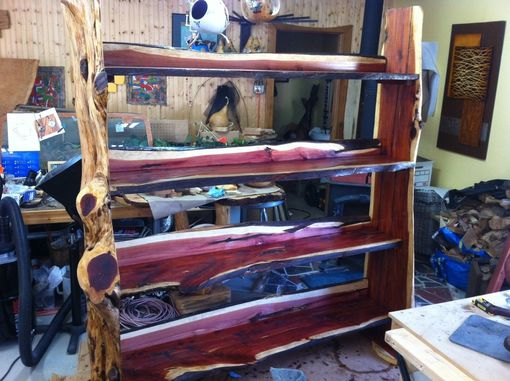 Custom Made Cedar Tree Trunk Retail Display Shelf