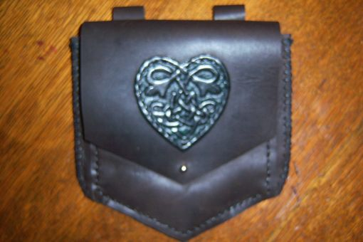 Custom Made Black Belt Bag Or Sporran Bag With Heart Knot