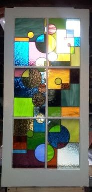 "Custom Made Stained Glass Window /   ""Geometric Splash"" (W-29)"