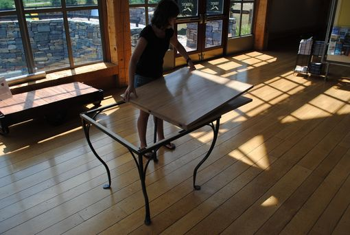 Custom Made Maple Flip Top Forged Iron Table