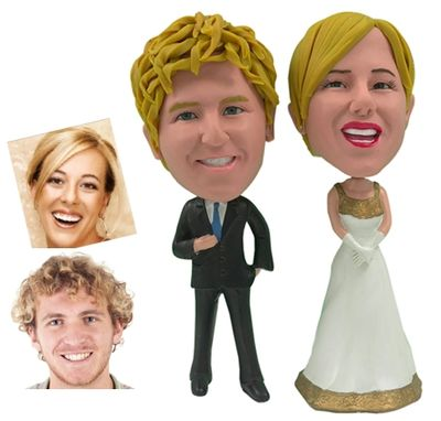 Custom Made Personalized Wedding Cake Topper Of A Golden Couple, A Cake Topper That Looks Like The Bride And Groom