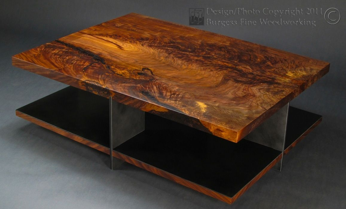 Custom Claro Walnut Coffee Table With Steel Base By Burgess Fine