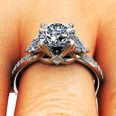 Custom Made Cathedral 3 Stone Diamond Engagement Ring
