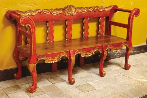 Custom Made Painted And Gilt Colonial Chippendale Bench