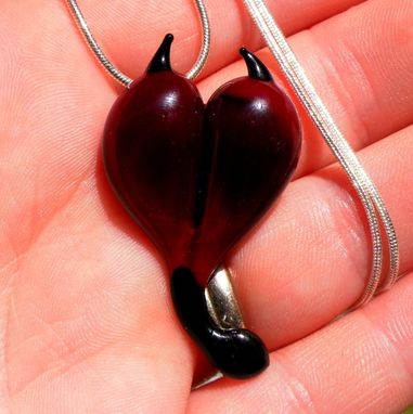 Custom Made Devil Heart Necklace, Flamework Glass Jewelry, Lampwork Hand Blown Boro Pendant