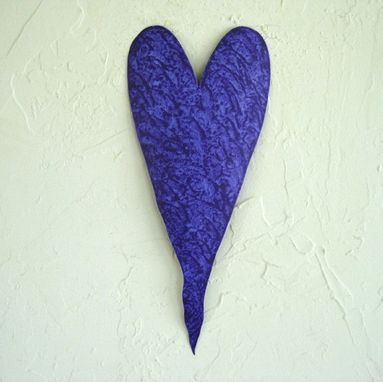 Custom Made Handmade Upcycled Metal Valentine's Heart Wall Decor In Bluish Purple