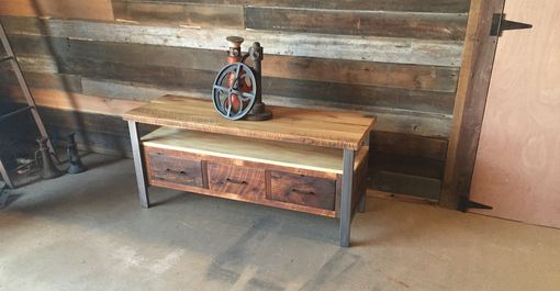 Custom Made Reclaimed Wood Media Console With Steel Legs