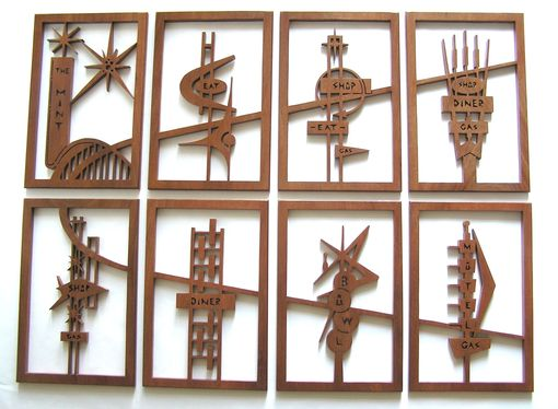 "Custom Made Mahogany 8-Panel Mid-Century Modern Fretwork Collage ""Googie Signs 4"""