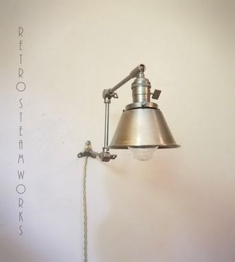 Custom Made Articulating Wall Mount Industrial Light - Hand Aged Brass Modern Mid Century Sconce Cone Lamp