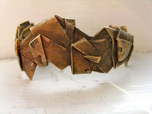 Custom Made Folded Gold Bronze Cuff Bracelet