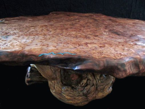 Custom Made Large Live Edge Redwood Burl Slab Coffee Table, Burl Pine Log Base With Turquoise Inlay