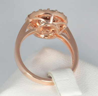 Custom Made Malaya Garnet On 18k Solid Rose Gold With A White Diamond Halo.
