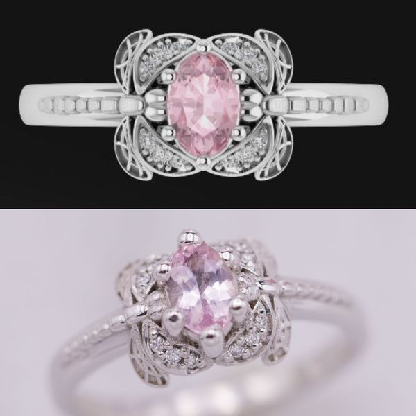 A dragonfly ring in white gold pairs perfectly with the cool, crisp pink of this marquise morganite. Diamonds in the dragonfly wings add brilliant sparkle.