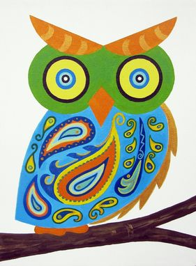 Custom Made Blue Paisley Owl Baby Wall Art / Child Wall Art Owl Nursery Painting (Not A Print)