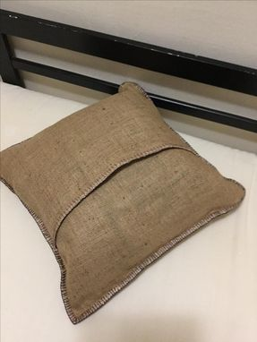 Custom Made Natural Burlap Picture Frame Lined Pillow Cover
