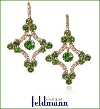 Custom Made Tsavorite And Diamond Chandelier Earrings