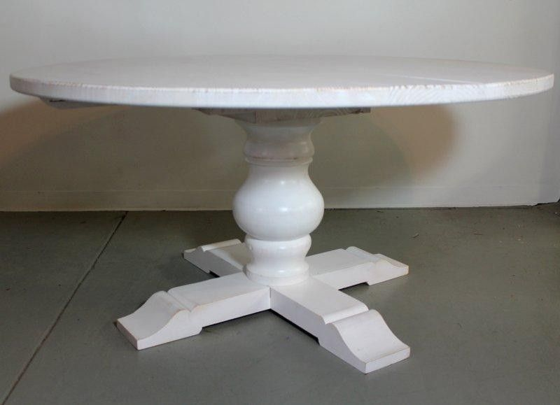Hand Made White Round Farm Table With Tuscany Pedestal By