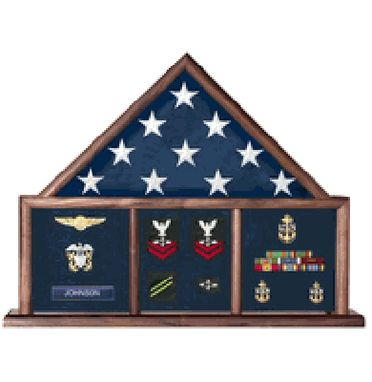 Custom Made Military Flag And Medal Display Case, Shadow Box