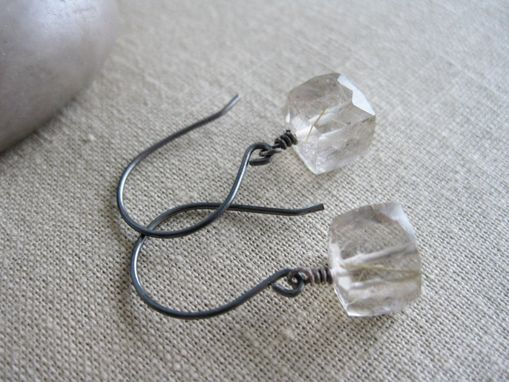 Custom Made Golden Rutilated Quartz Cube Earrings Oxidized Sterling Silver