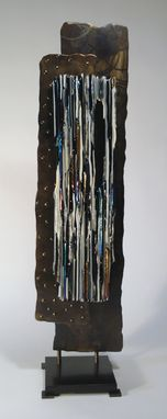 Custom Made Rectangle Fused Glass And Metal Sculpture