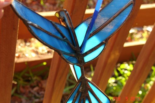Custom Made 3d Flying Stained Glass Bird In Blue, Orange And White 7 X 6.5 Sz