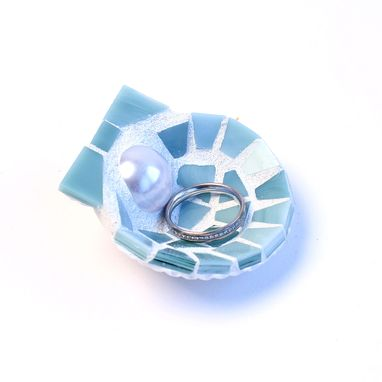 Custom Made Mosaic Shell Wedding Ring Holder With Pearl