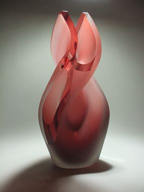 Custom Made Salmon Helix Glass Sculpture