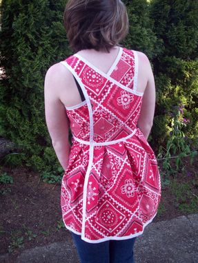 Custom Made Red Hankie Print Wrap Top