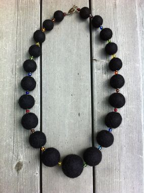 "Custom Made Felted Wool Necklace - ""Aurora Black"""