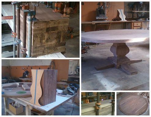 Custom Made Walnut Pedestal Table (Step-By-Step Unfinished)
