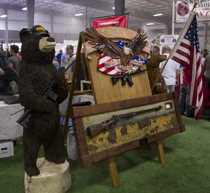 "Custom Made ""Bear Arms Bear"" - Custom Chainsaw Carvings"