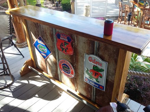 Custom Made Rustic Wood And Metal Panels Bar